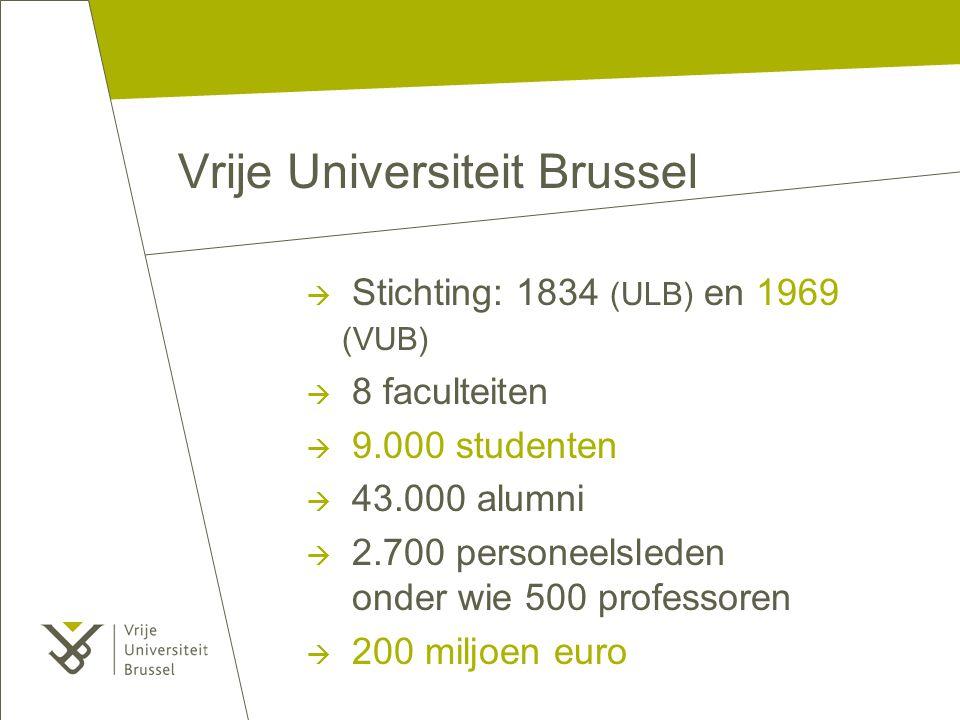 Vrije Universiteit Brussel  Stichting: 1834 (ULB) en 1969 (VUB)  8 faculteiten  9.000 studenten  43.000 alumni  2.700 personeelsleden onder wie 500 professoren  200 miljoen euro