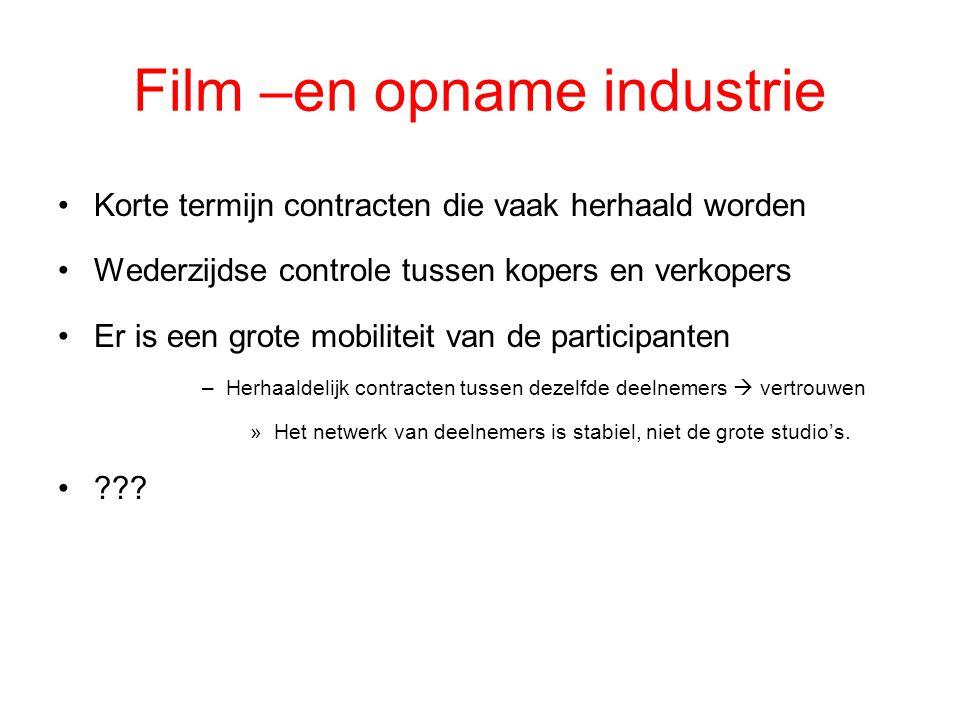 Film –en opname industrie Korte termijn contracten die vaak herhaald worden Wederzijdse controle tussen kopers en verkopers Er is een grote mobiliteit