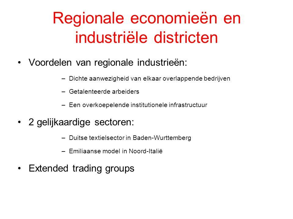 Regionale economieën en industriële districten Voordelen van regionale industrieën: –Dichte aanwezigheid van elkaar overlappende bedrijven –Getalentee