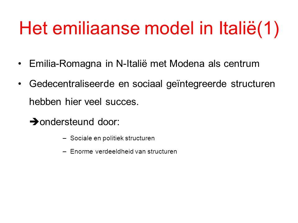 Het emiliaanse model in Italië(1) Emilia-Romagna in N-Italië met Modena als centrum Gedecentraliseerde en sociaal geïntegreerde structuren hebben hier
