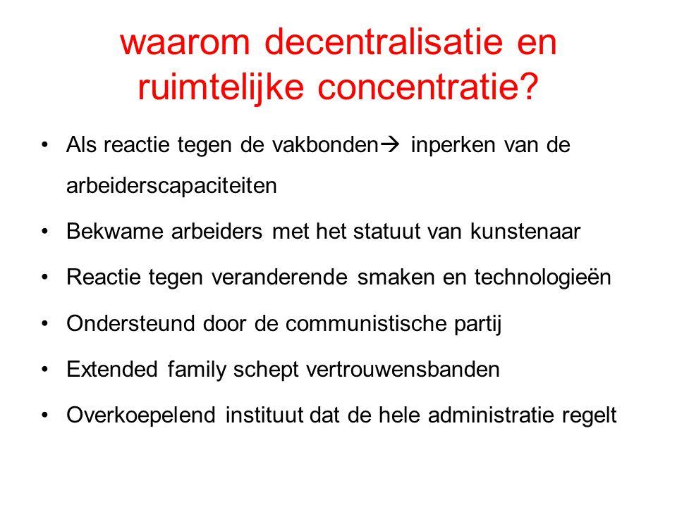waarom decentralisatie en ruimtelijke concentratie? Als reactie tegen de vakbonden  inperken van de arbeiderscapaciteiten Bekwame arbeiders met het s