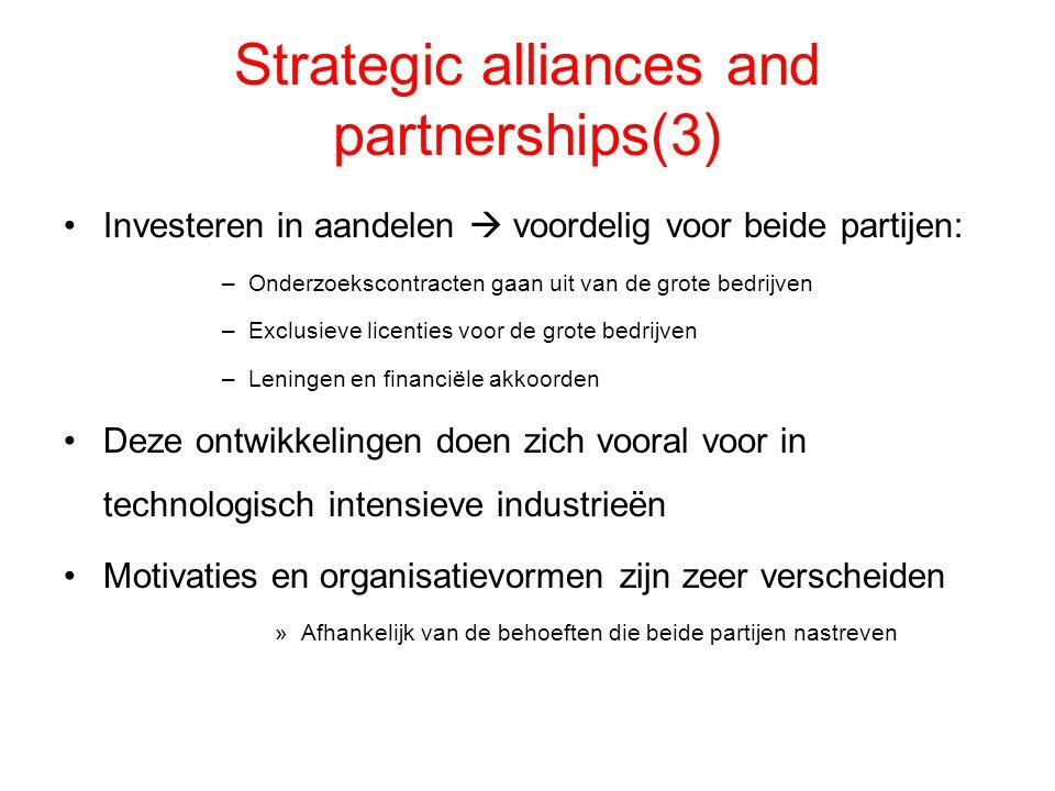 Strategic alliances and partnerships(3) Investeren in aandelen  voordelig voor beide partijen: –Onderzoekscontracten gaan uit van de grote bedrijven