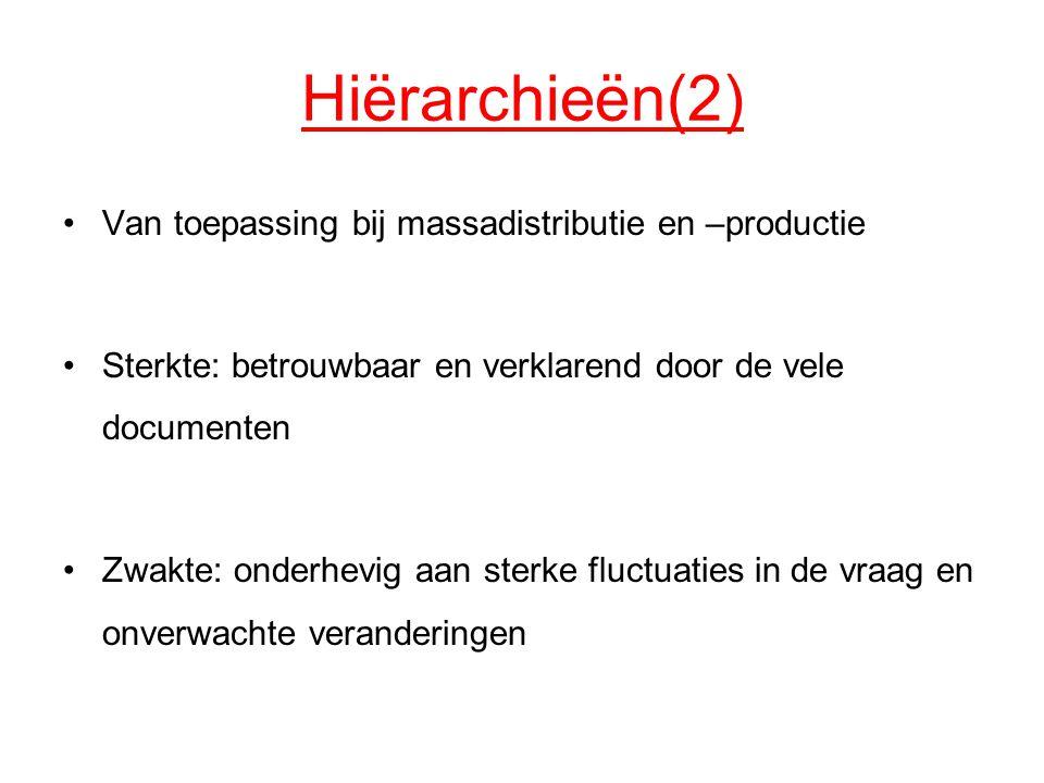 Hiërarchieën(2) Van toepassing bij massadistributie en –productie Sterkte: betrouwbaar en verklarend door de vele documenten Zwakte: onderhevig aan st