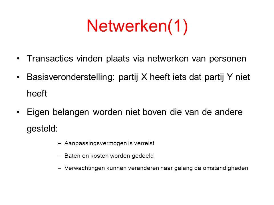 Netwerken(1) Transacties vinden plaats via netwerken van personen Basisveronderstelling: partij X heeft iets dat partij Y niet heeft Eigen belangen wo