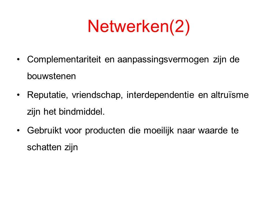Netwerken(2) Complementariteit en aanpassingsvermogen zijn de bouwstenen Reputatie, vriendschap, interdependentie en altruïsme zijn het bindmiddel. Ge