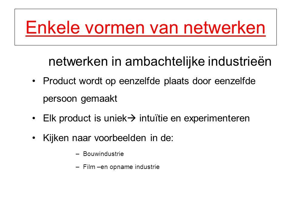 Enkele vormen van netwerken netwerken in ambachtelijke industrieën Product wordt op eenzelfde plaats door eenzelfde persoon gemaakt Elk product is uni