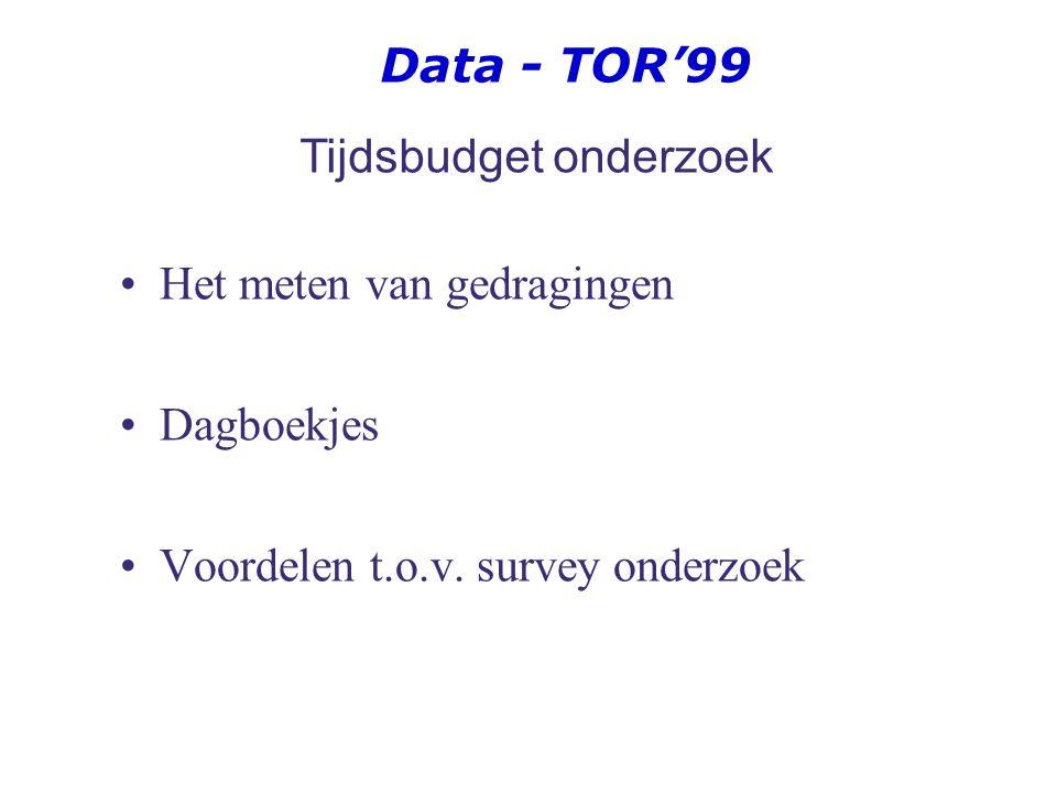 Data - TOR'99 TOR'99 (16 – 75 jaar) en TOR'04 (18 – 75 jaar) Tijdsbesteding aan de hand van 7-dagenregistratie + 2 vragenlijsten Continue registratie