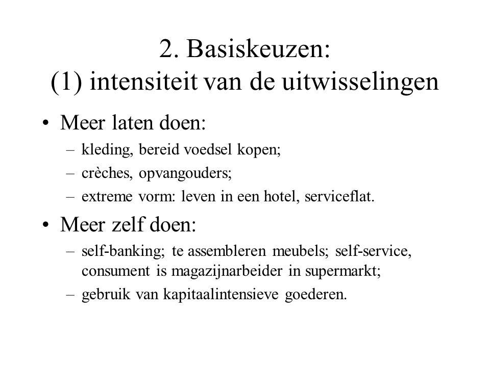 2. Basiskeuzen Basiskeuzen in de uitwisselingen met de omgeving: –intensiteit van de uitwisselingen: doen of laten doen (externaliseren, uitbesteden);