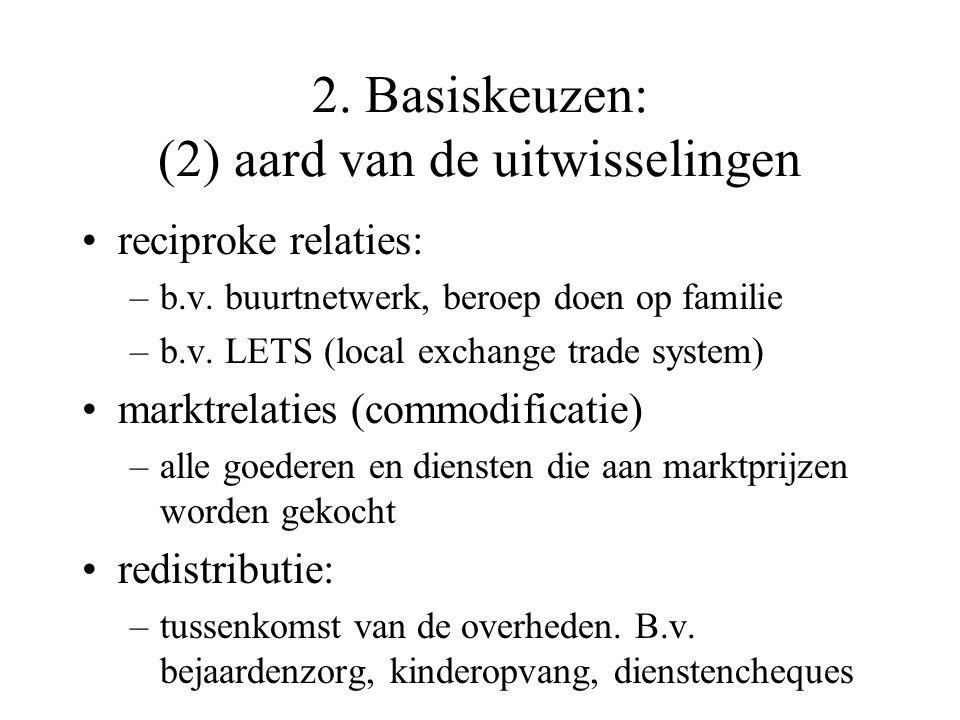 2. Basiskeuzen: (1) intensiteit van de uitwisselingen Meer laten doen: –kleding, bereid voedsel kopen; –crèches, opvangouders; –extreme vorm: leven in