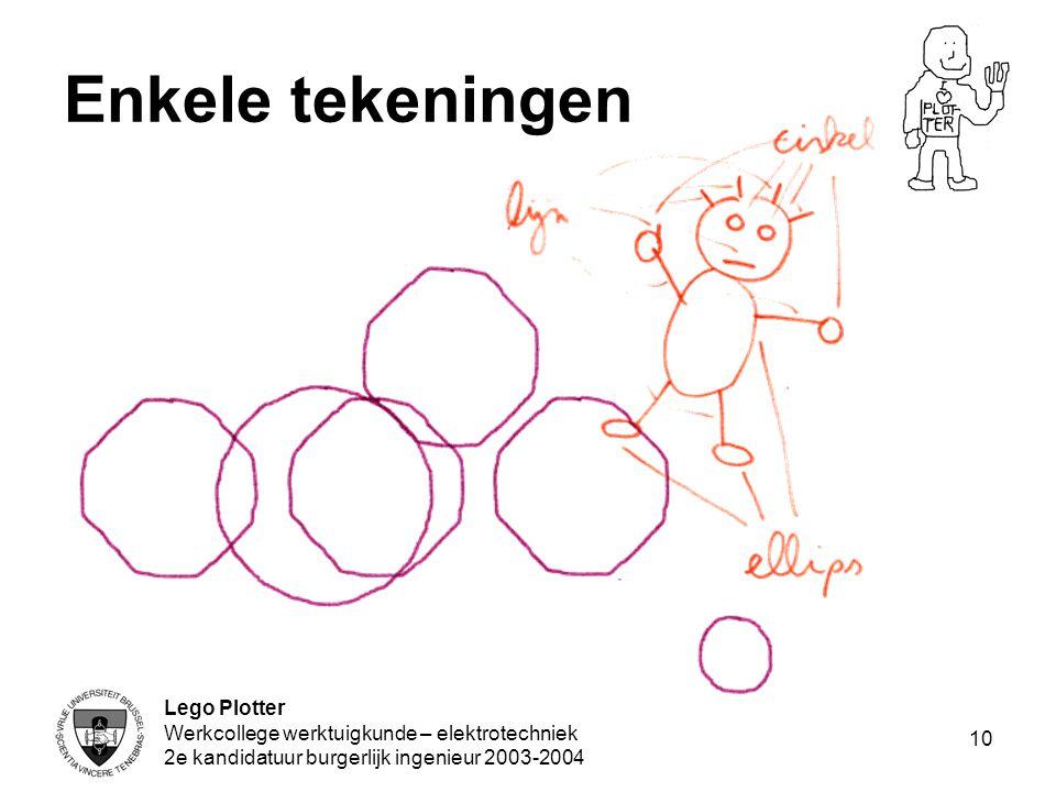 Lego Plotter Werkcollege werktuigkunde – elektrotechniek 2e kandidatuur burgerlijk ingenieur 2003-2004 10 Enkele tekeningen