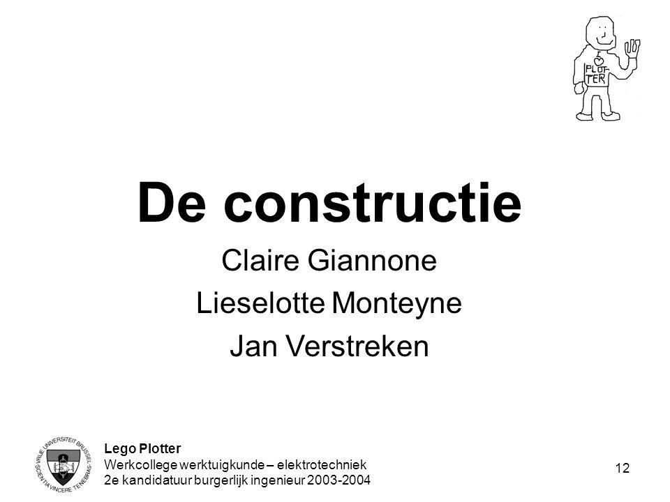 Lego Plotter Werkcollege werktuigkunde – elektrotechniek 2e kandidatuur burgerlijk ingenieur 2003-2004 12 De constructie Claire Giannone Lieselotte Mo