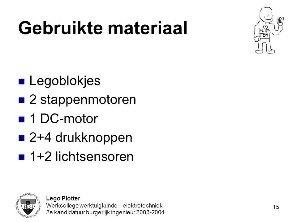 Lego Plotter Werkcollege werktuigkunde – elektrotechniek 2e kandidatuur burgerlijk ingenieur 2003-2004 15 Gebruikte materiaal Legoblokjes 2 stappenmot