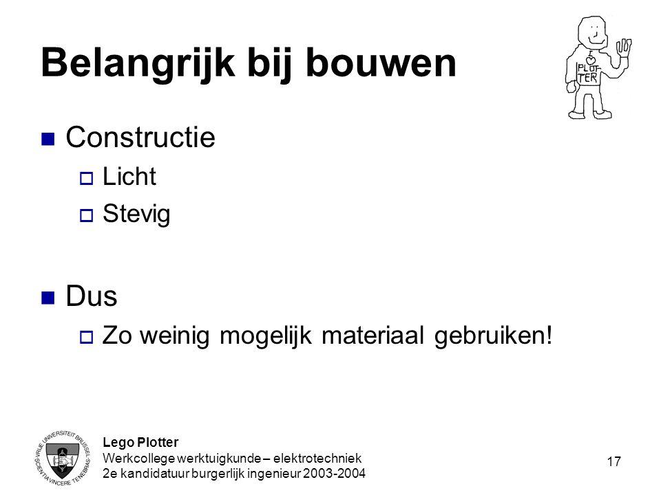 Lego Plotter Werkcollege werktuigkunde – elektrotechniek 2e kandidatuur burgerlijk ingenieur 2003-2004 17 Belangrijk bij bouwen Constructie  Licht 
