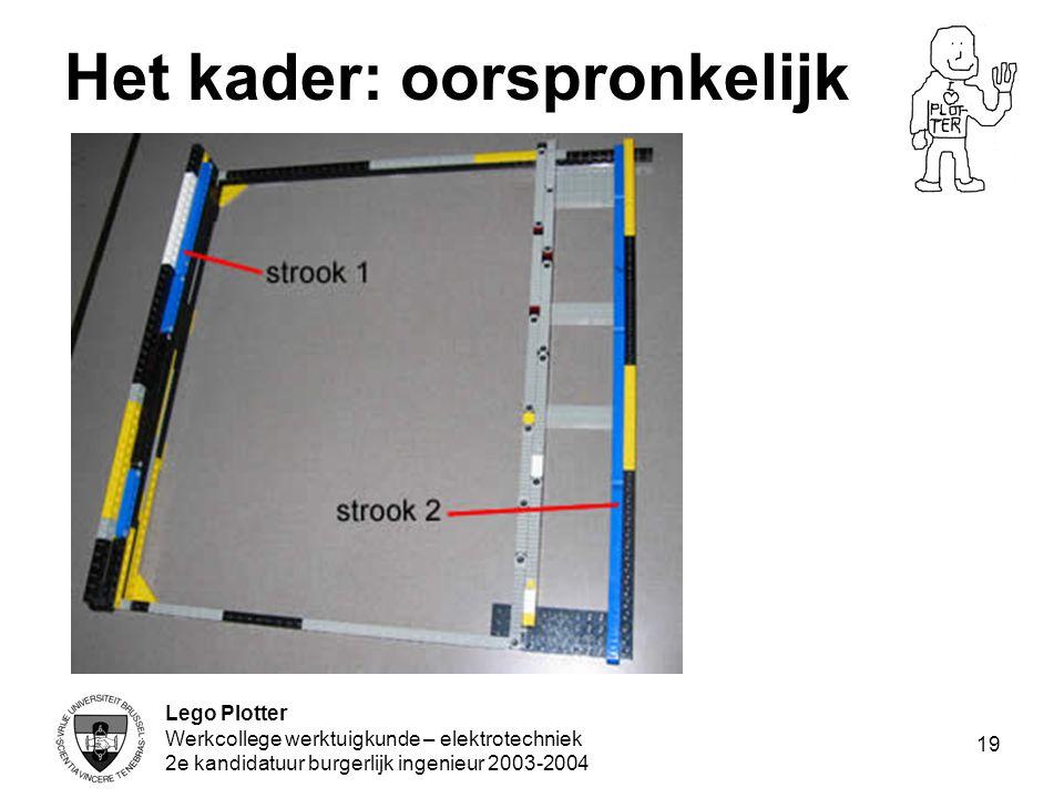 Lego Plotter Werkcollege werktuigkunde – elektrotechniek 2e kandidatuur burgerlijk ingenieur 2003-2004 19 Het kader: oorspronkelijk