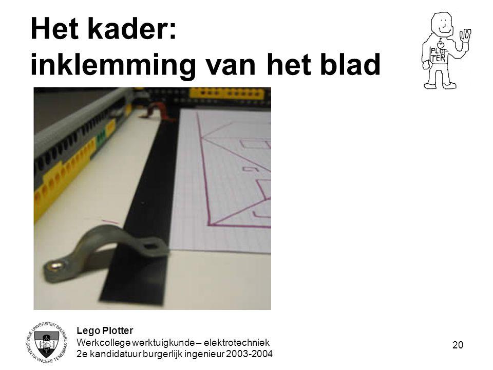 Lego Plotter Werkcollege werktuigkunde – elektrotechniek 2e kandidatuur burgerlijk ingenieur 2003-2004 20 Het kader: inklemming van het blad