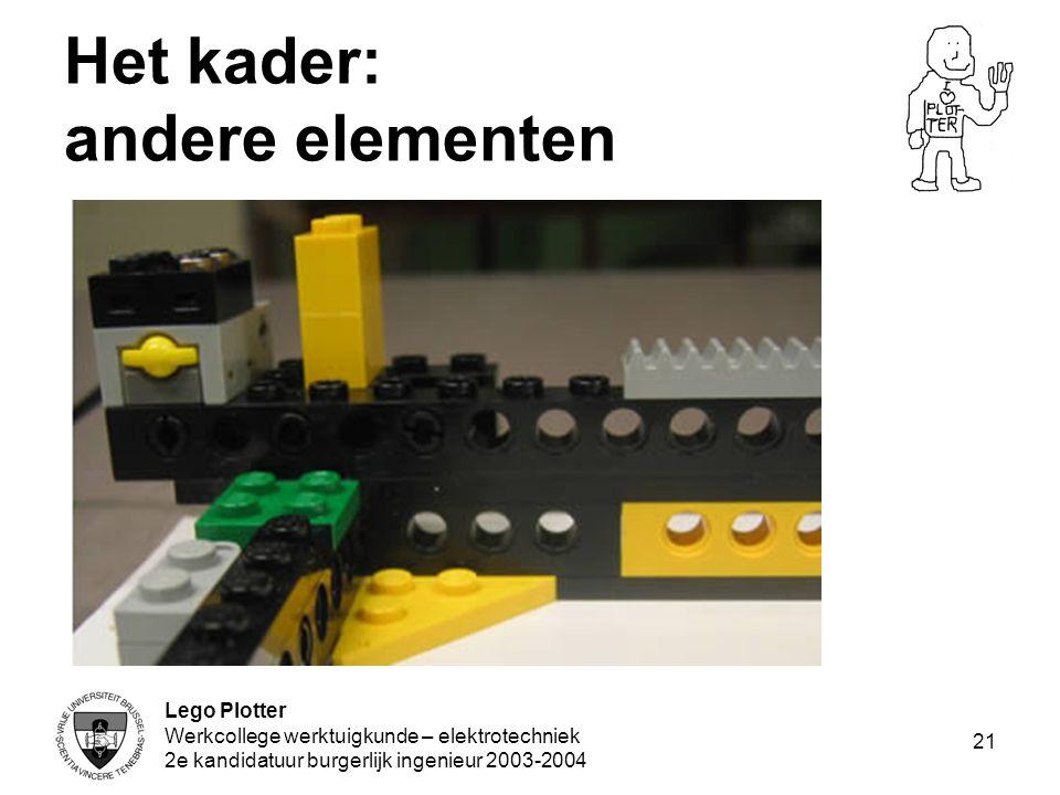 Lego Plotter Werkcollege werktuigkunde – elektrotechniek 2e kandidatuur burgerlijk ingenieur 2003-2004 21 Het kader: andere elementen