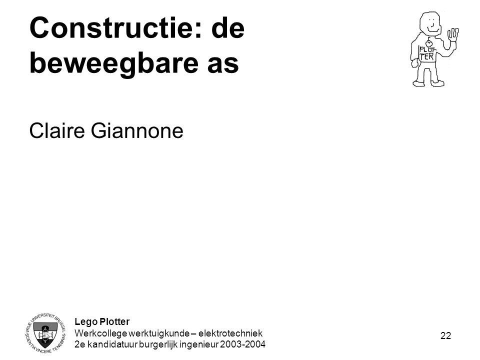 Lego Plotter Werkcollege werktuigkunde – elektrotechniek 2e kandidatuur burgerlijk ingenieur 2003-2004 22 Constructie: de beweegbare as Claire Giannon