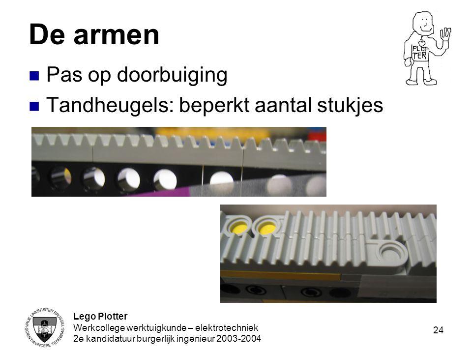 Lego Plotter Werkcollege werktuigkunde – elektrotechniek 2e kandidatuur burgerlijk ingenieur 2003-2004 24 De armen Pas op doorbuiging Tandheugels: bep