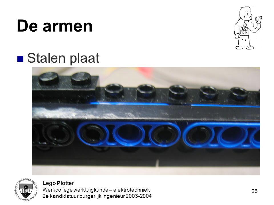 Lego Plotter Werkcollege werktuigkunde – elektrotechniek 2e kandidatuur burgerlijk ingenieur 2003-2004 25 De armen Stalen plaat