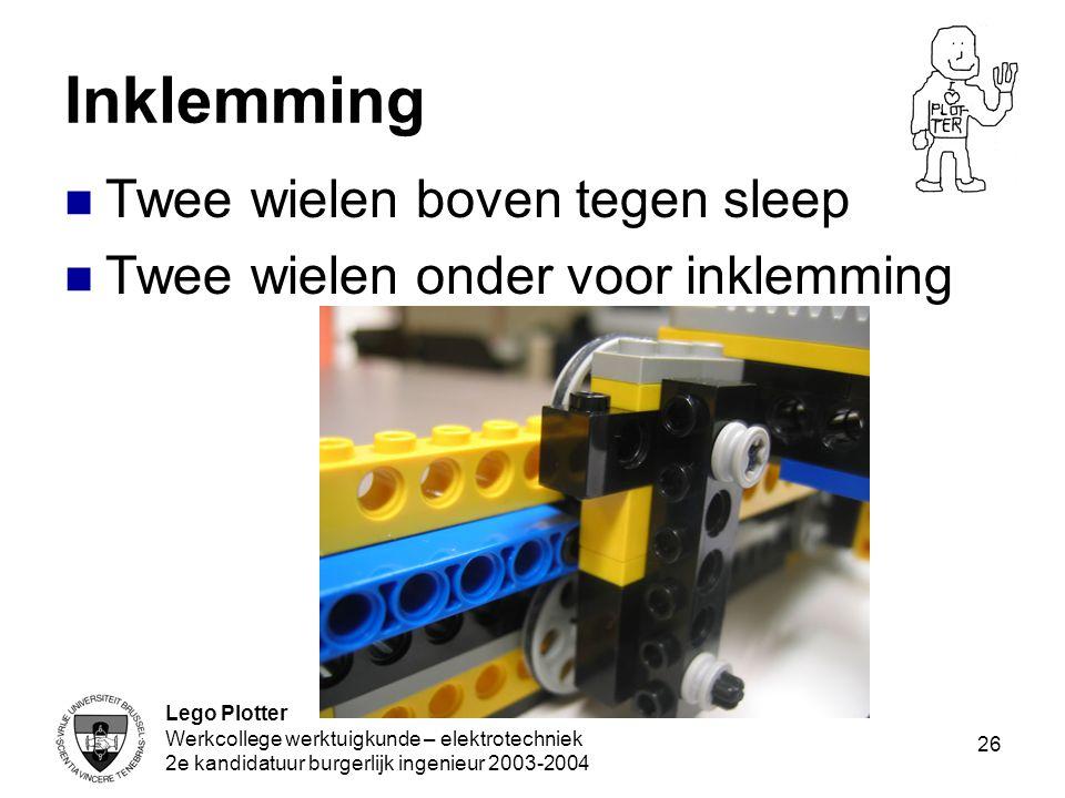 Lego Plotter Werkcollege werktuigkunde – elektrotechniek 2e kandidatuur burgerlijk ingenieur 2003-2004 26 Inklemming Twee wielen boven tegen sleep Twe