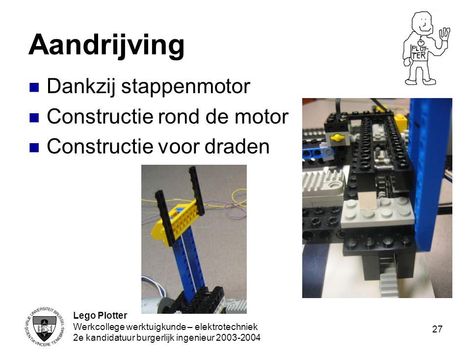 Lego Plotter Werkcollege werktuigkunde – elektrotechniek 2e kandidatuur burgerlijk ingenieur 2003-2004 27 Aandrijving Dankzij stappenmotor Constructie