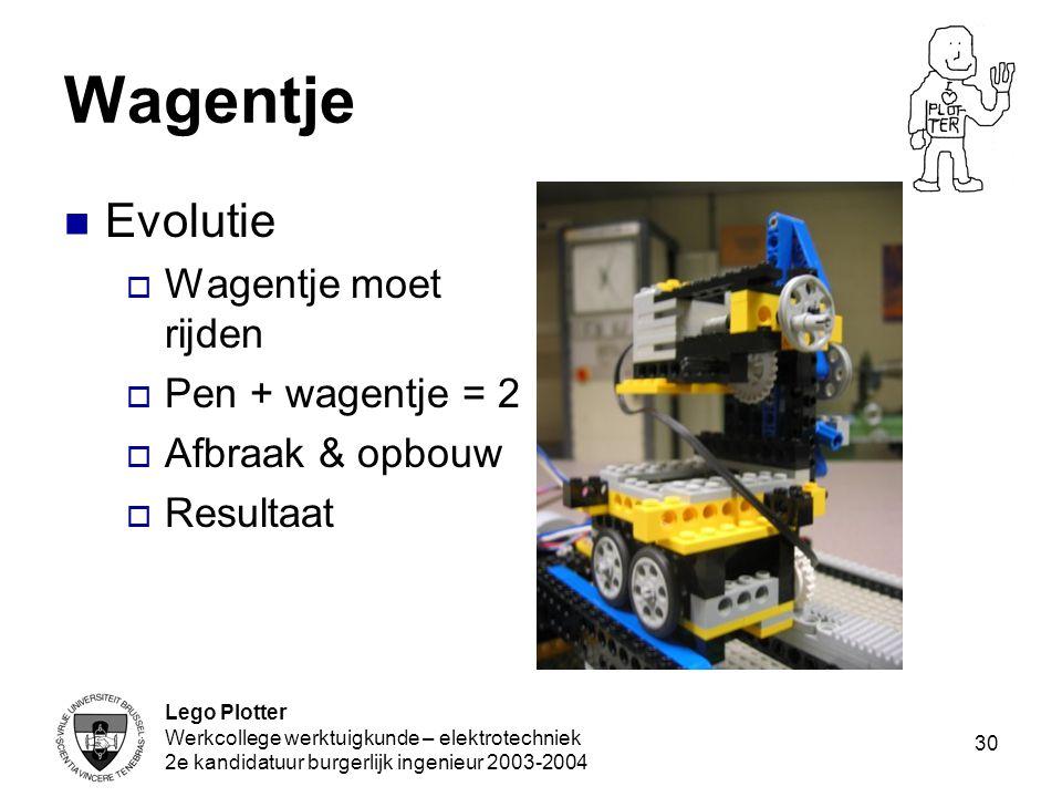 Lego Plotter Werkcollege werktuigkunde – elektrotechniek 2e kandidatuur burgerlijk ingenieur 2003-2004 30 Wagentje Evolutie  Wagentje moet rijden  P