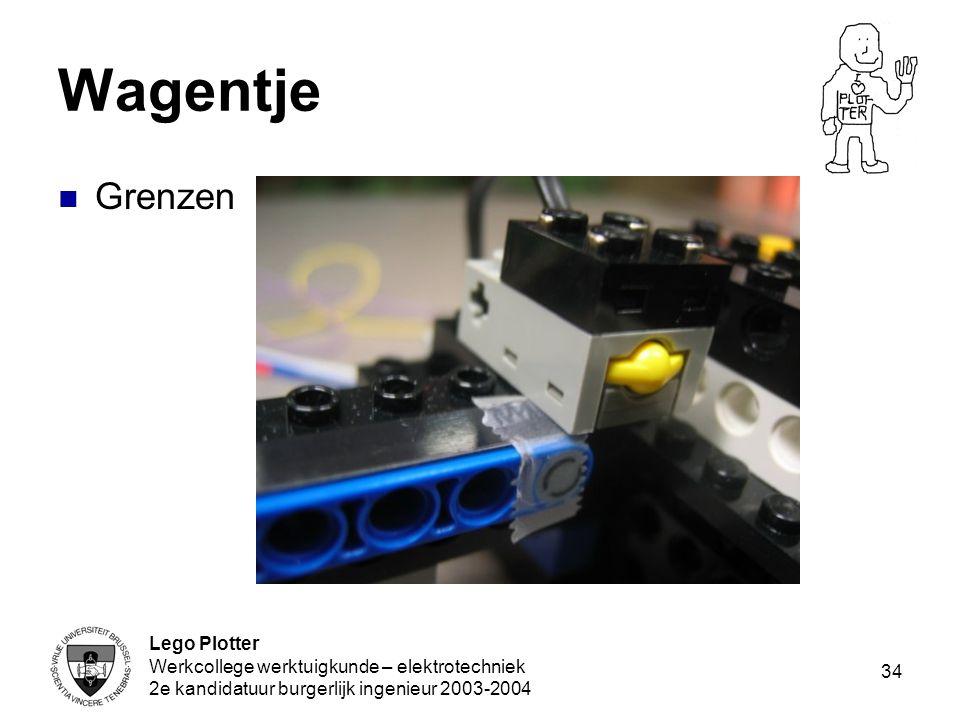 Lego Plotter Werkcollege werktuigkunde – elektrotechniek 2e kandidatuur burgerlijk ingenieur 2003-2004 34 Wagentje Grenzen