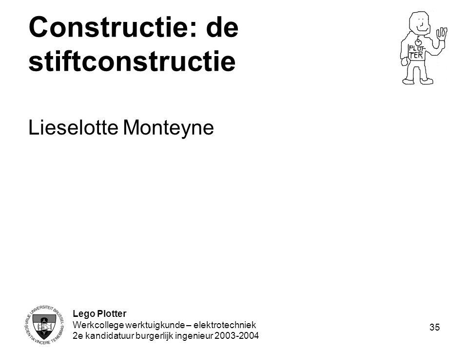 Lego Plotter Werkcollege werktuigkunde – elektrotechniek 2e kandidatuur burgerlijk ingenieur 2003-2004 35 Constructie: de stiftconstructie Lieselotte