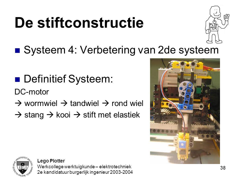Lego Plotter Werkcollege werktuigkunde – elektrotechniek 2e kandidatuur burgerlijk ingenieur 2003-2004 38 De stiftconstructie Systeem 4: Verbetering v