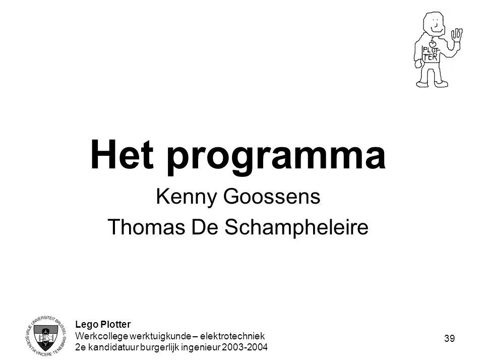 Lego Plotter Werkcollege werktuigkunde – elektrotechniek 2e kandidatuur burgerlijk ingenieur 2003-2004 39 Het programma Kenny Goossens Thomas De Scham