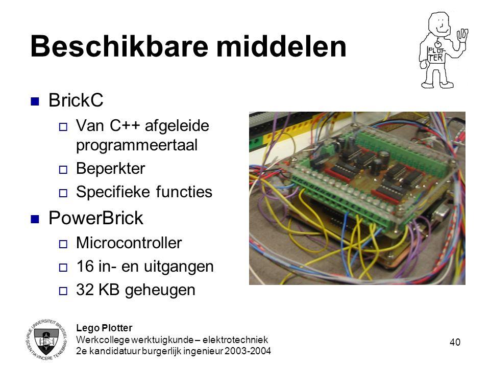 Lego Plotter Werkcollege werktuigkunde – elektrotechniek 2e kandidatuur burgerlijk ingenieur 2003-2004 40 Beschikbare middelen BrickC  Van C++ afgele