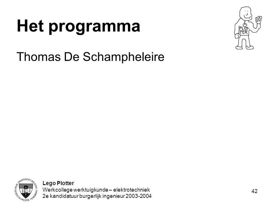 Lego Plotter Werkcollege werktuigkunde – elektrotechniek 2e kandidatuur burgerlijk ingenieur 2003-2004 42 Het programma Thomas De Schampheleire
