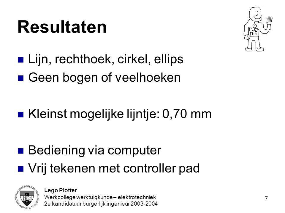 Lego Plotter Werkcollege werktuigkunde – elektrotechniek 2e kandidatuur burgerlijk ingenieur 2003-2004 7 Resultaten Lijn, rechthoek, cirkel, ellips Ge