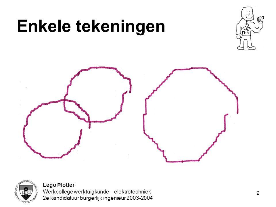Lego Plotter Werkcollege werktuigkunde – elektrotechniek 2e kandidatuur burgerlijk ingenieur 2003-2004 9 Enkele tekeningen