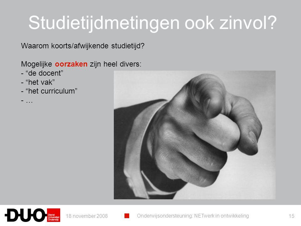 18 november 2008 Onderwijsondersteuning: NETwerk in ontwikkeling 15 Studietijdmetingen ook zinvol.