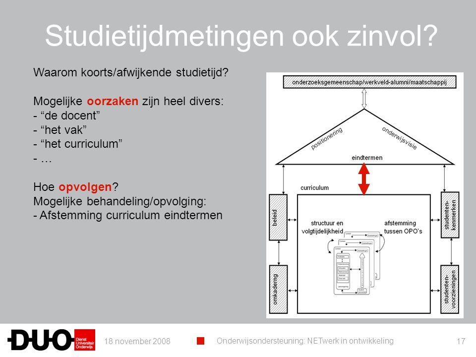 18 november 2008 Onderwijsondersteuning: NETwerk in ontwikkeling 17 Studietijdmetingen ook zinvol.
