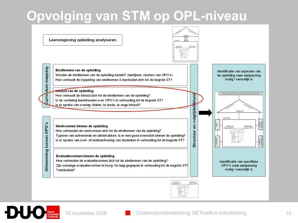 18 november 2008 Onderwijsondersteuning: NETwerk in ontwikkeling 10 Opvolging van STM op OPL-niveau