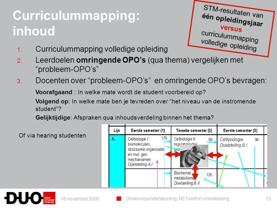 18 november 2008 Onderwijsondersteuning: NETwerk in ontwikkeling 15 Curriculummapping: inhoud 1. Curriculummapping volledige opleiding 2. Leerdoelen o