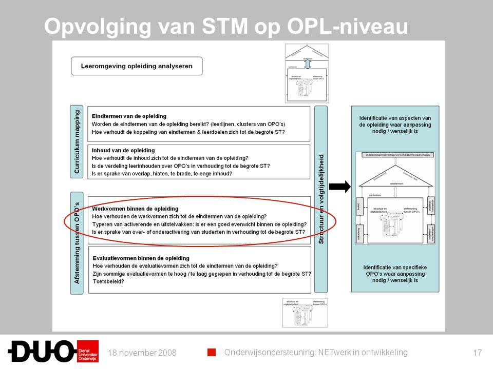 18 november 2008 Onderwijsondersteuning: NETwerk in ontwikkeling 17 Opvolging van STM op OPL-niveau