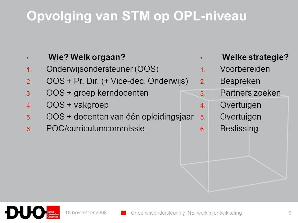 18 november 2008 Onderwijsondersteuning: NETwerk in ontwikkeling 3 Opvolging van STM op OPL-niveau ▪ Wie? Welk orgaan? 1. Onderwijsondersteuner (OOS)