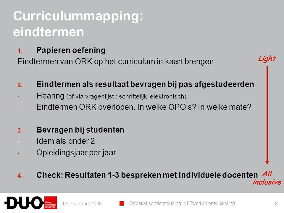 18 november 2008 Onderwijsondersteuning: NETwerk in ontwikkeling 8 Curriculummapping: eindtermen 1. Papieren oefening Eindtermen van ORK op het curric