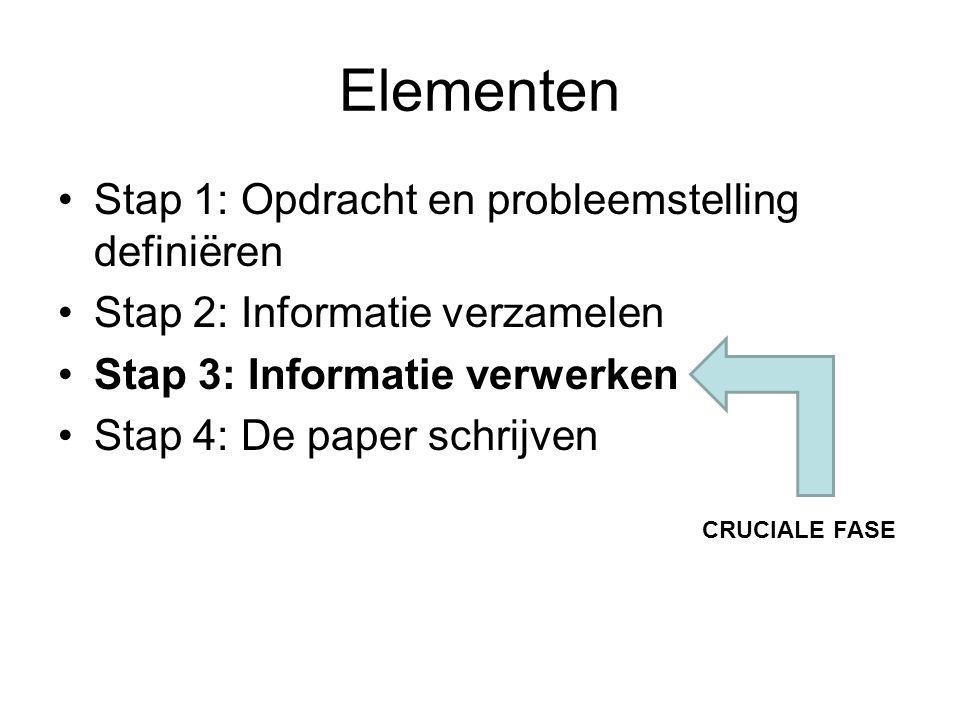 Elementen Stap 1: Opdracht en probleemstelling definiëren Stap 2: Informatie verzamelen Stap 3: Informatie verwerken Stap 4: De paper schrijven CRUCIALE FASE