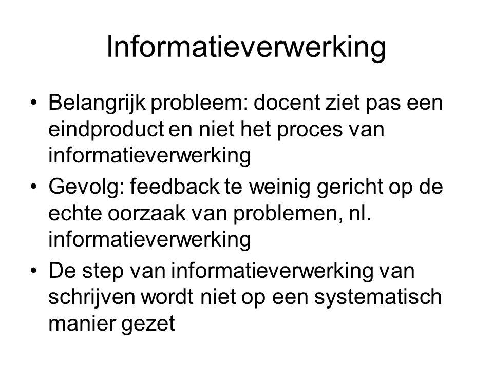 Informatieverwerking Belangrijk probleem: docent ziet pas een eindproduct en niet het proces van informatieverwerking Gevolg: feedback te weinig gericht op de echte oorzaak van problemen, nl.