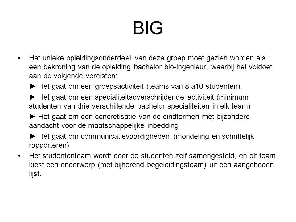 BIG Het unieke opleidingsonderdeel van deze groep moet gezien worden als een bekroning van de opleiding bachelor bio-ingenieur, waarbij het voldoet aan de volgende vereisten: ► Het gaat om een groepsactiviteit (teams van 8 à10 studenten).