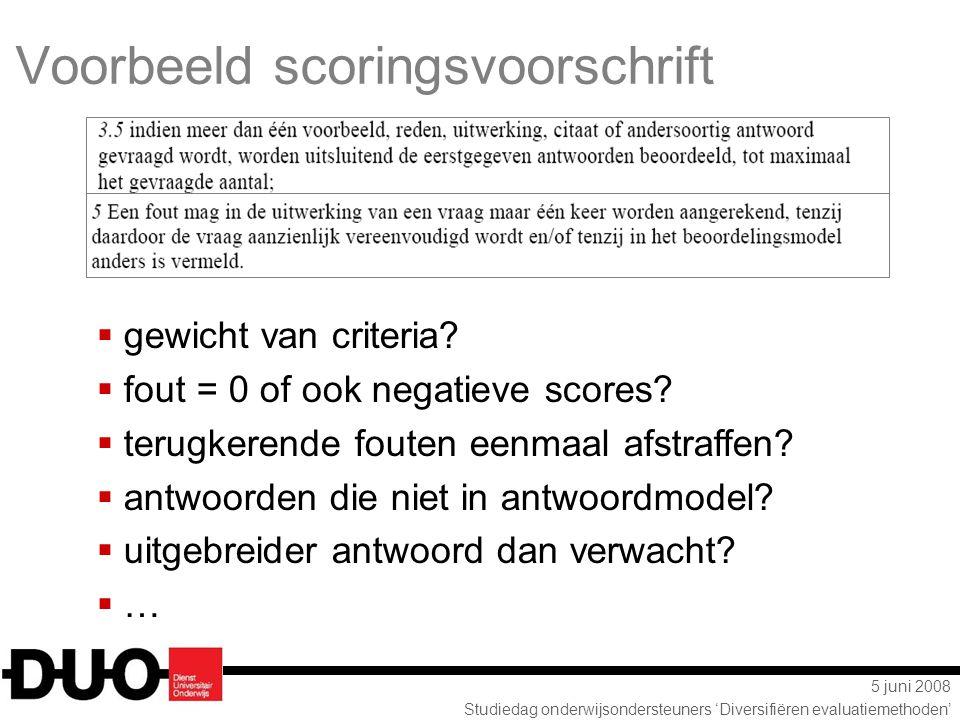5 juni 2008 Studiedag onderwijsondersteuners 'Diversifiëren evaluatiemethoden' Voorbeeld scoringsvoorschrift  gewicht van criteria?  fout = 0 of ook