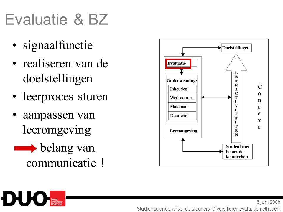 5 juni 2008 Studiedag onderwijsondersteuners 'Diversifiëren evaluatiemethoden' Evaluatie & BZ signaalfunctie realiseren van de doelstellingen leerproc