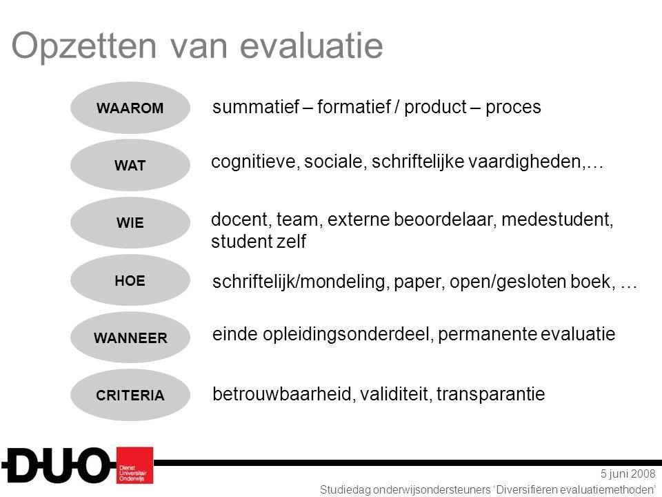 5 juni 2008 Studiedag onderwijsondersteuners 'Diversifiëren evaluatiemethoden' summatief – formatief / product – proces cognitieve, sociale, schriftel
