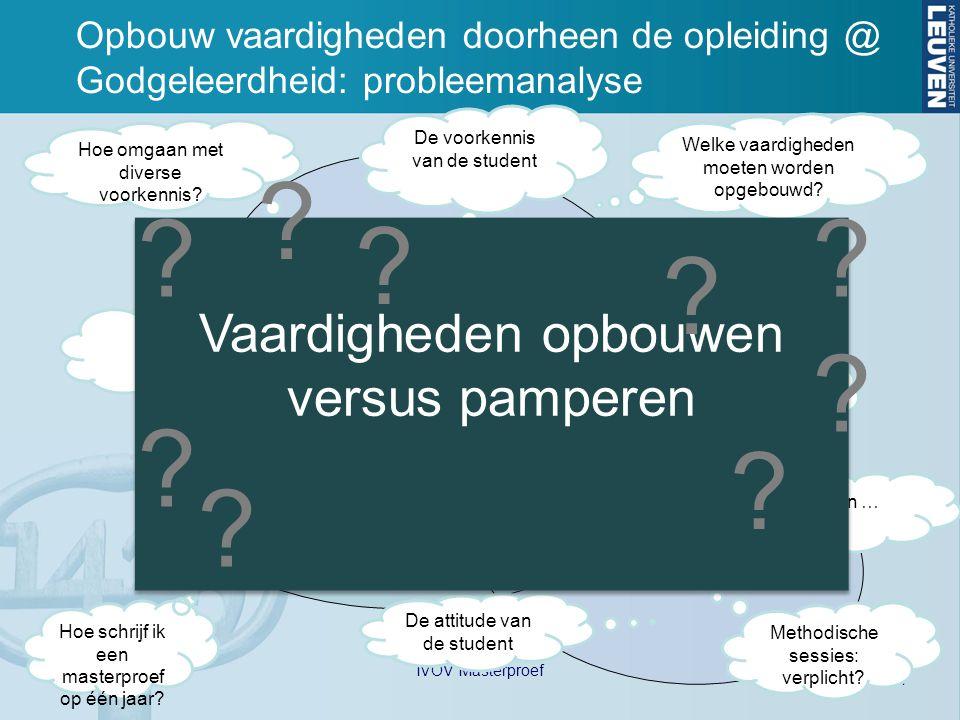 14 20/5/2010 IVOV Masterproef Opbouw vaardigheden doorheen de opleiding @ Godgeleerdheid: probleemanalyse Student Promotor Begeleider (Assistent) Hoe