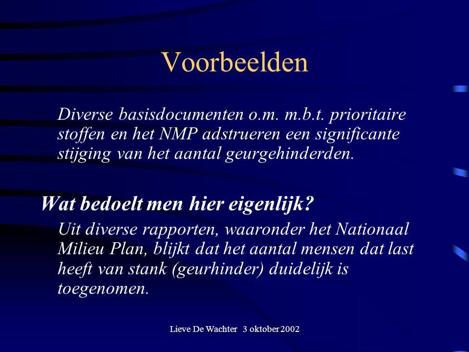Lieve De Wachter 3 oktober 2002 Voorbeelden Diverse basisdocumenten o.m. m.b.t. prioritaire stoffen en het NMP adstrueren een significante stijging va