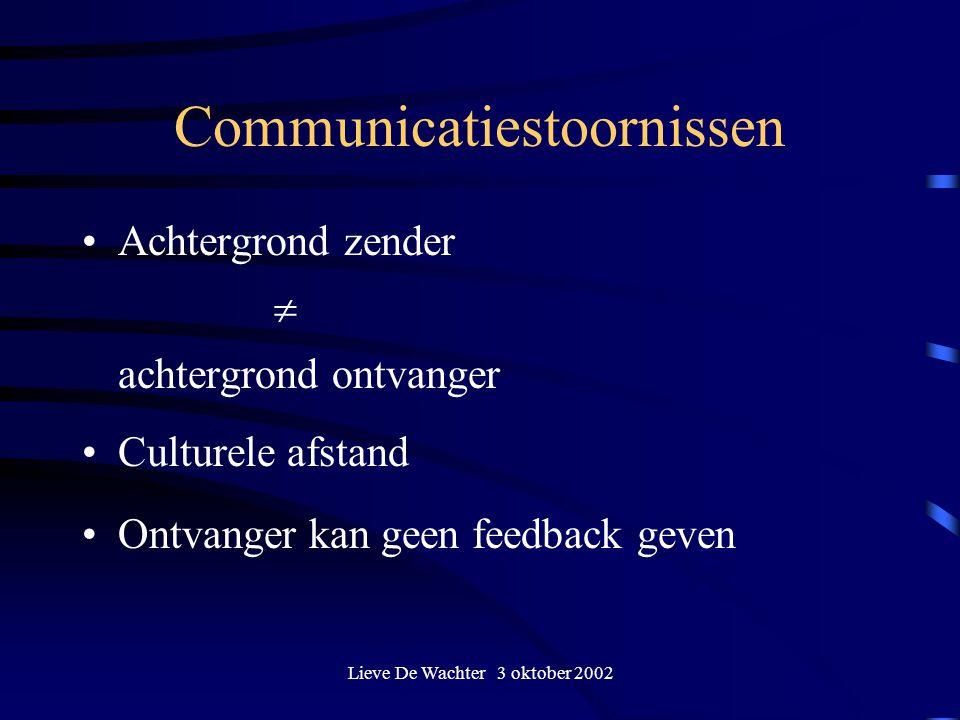 Lieve De Wachter 3 oktober 2002 Communicatiestoornissen Achtergrond zender  achtergrond ontvanger Culturele afstand Ontvanger kan geen feedback geven